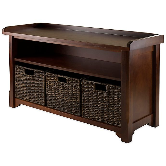 Brilliant Winsome Trading Granville Storage Bench With 3 Small Baskets Ncnpc Chair Design For Home Ncnpcorg