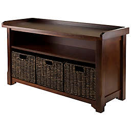 Winsome Trading Granville Storage Shelf and Baskets Collection in Walnut/Chocolate