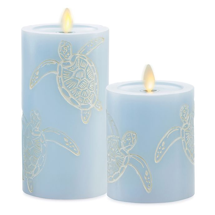 Alternate image 1 for Luminara® Moving Flame® Blue Turtle Real-Flame Effect Pillar Candle