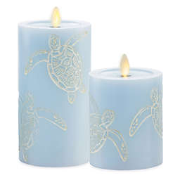 Luminara® Moving Flame® Blue Turtle Real-Flame Effect Pillar Candle