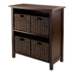 Winsome Trading Granville 2-Tier Storage Shelf with 4 Small Baskets in Walnut/Chocolate