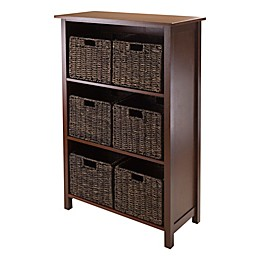 Winsome Trading Granville 3-Tier Storage Shelf with 6 Small Baskets in Antique Walnut/Chocolate