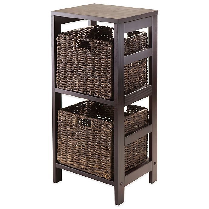 Alternate image 1 for Winsome Trading Granville 2-Tier Storage Shelf with 2 Small Baskets in Espresso/Chocolate