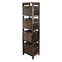 Winsome Trading Granville 4-Tier Tall Storage Shelf with 4 Small Baskets in Espresso/Chocolate
