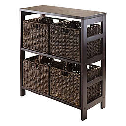 Winsome Trading Granville 2-Tier Wide Storage Shelf with 4 Large Baskets in Espresso/Chocolate