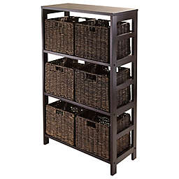 Winsome Trading Granville 3-Tier Storage Shelf with 6 Small Baskets in Espresso/Chocolate