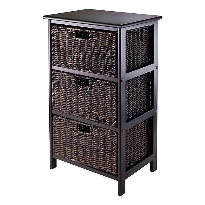 Alternate image 1 for Winsome Trading Omaha 3-Tier Storage Shelf with 3 Baskets in Black/Chocolate