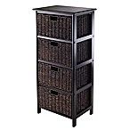 Winsome Trading Omaha 4-Tier Storage Shelf with 4 Baskets in Black/Chocolate
