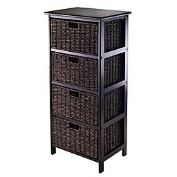 Winsome Trading Omaha 4 Tier Storage Shelf With Baskets In Black Chocolate