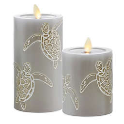 Luminara® Moving Flame® Grey Turtle Real-Flame Effect Pillar Candle