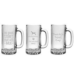Susquehanna Glass Etched Novelty Barware Beer Mug Collection