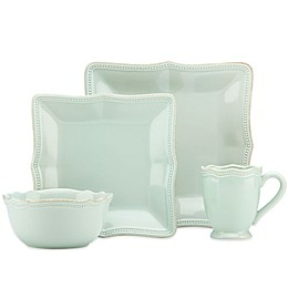 Lenox® French Perle Bead Square Dinnerware Collection in Ice Blue
