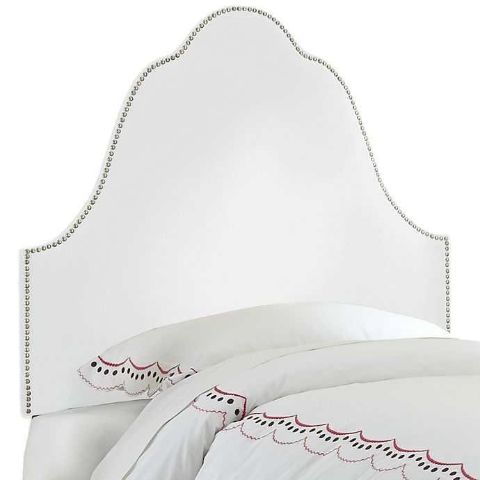 Alternate image 1 for Skyline Furniture Arch Nail Button Twin Headboard in Velvet White