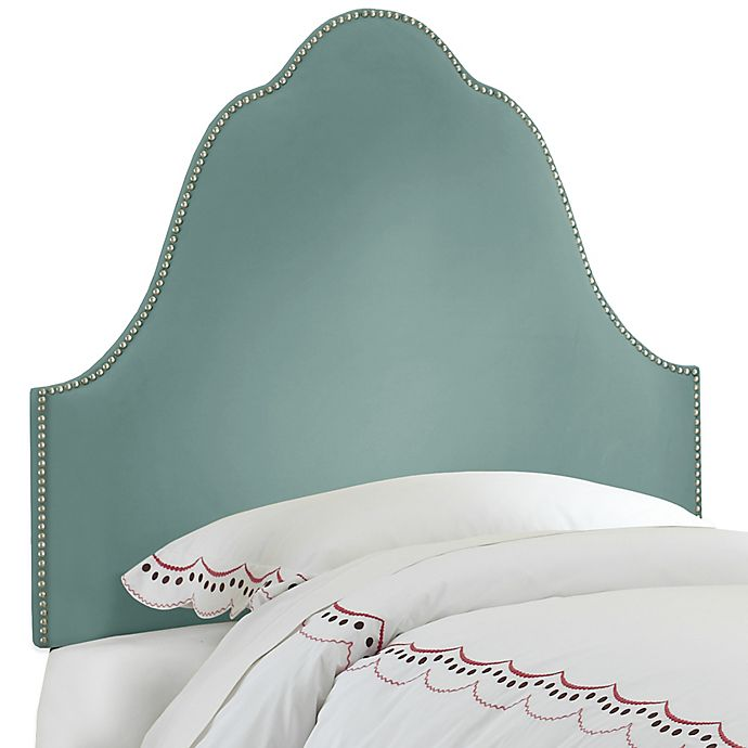 Alternate image 1 for Skyline Furniture Arch Nail Button Twin Headboard in Velvet Caribbean