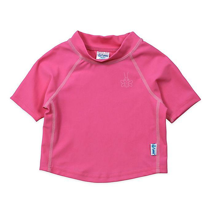 Alternate image 1 for i play.® Size 6M Short Sleeve Rashguard in Hot Pink