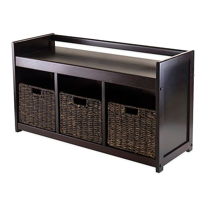Stupendous Winsome Trading Addison Storage Bench With 3 Baskets Bed Ncnpc Chair Design For Home Ncnpcorg