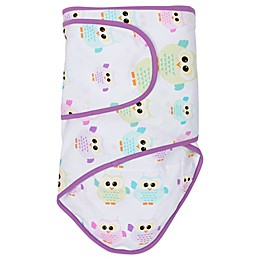 Miracle Blanket® Swaddle in Owls with Purple Trim