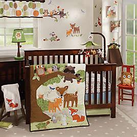 Lambs Ivy Woodland Tales 4 Piece Crib Bedding Set