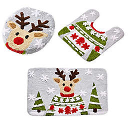 VCNY Home 3-Piece Reindeer Holiday Bath Rug Set in Grey