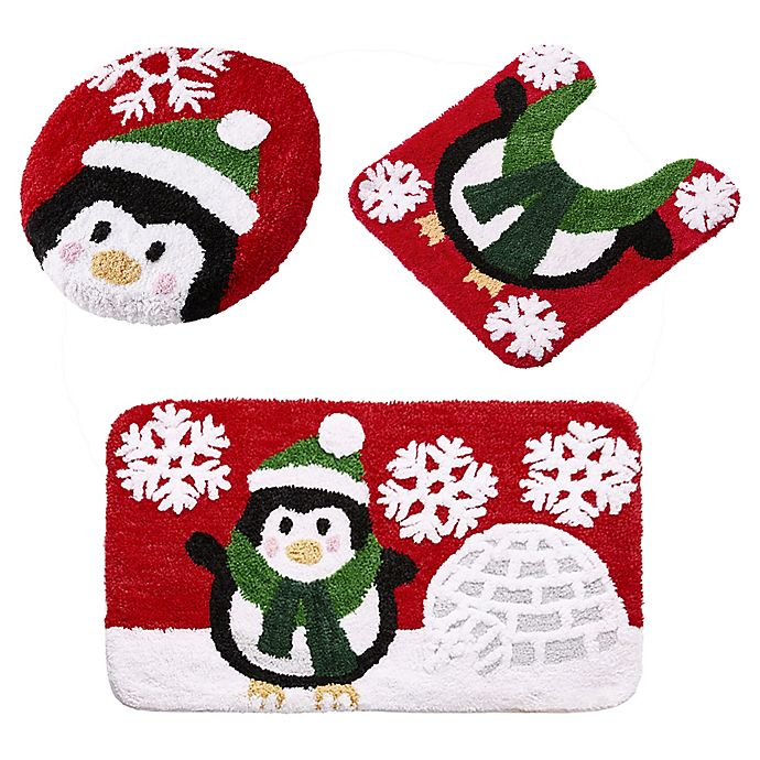 Alternate image 1 for VCNY Home 3-Piece Penguin Holiday Bath Rug Set in Red