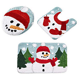 VCNY Home 3-Piece Snowman Holiday Bath Rug Set in Blue