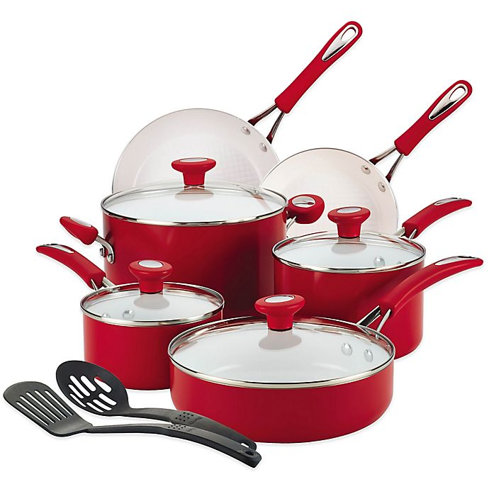 Alternate image 1 for SilverStone Ceramic Cxi 12-Piece Cookware Set in Red