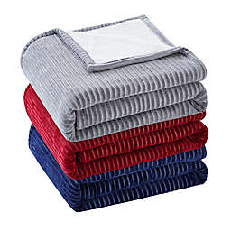 VCNY home Chenille Ribbed Stripe Throw Blanket in Grey