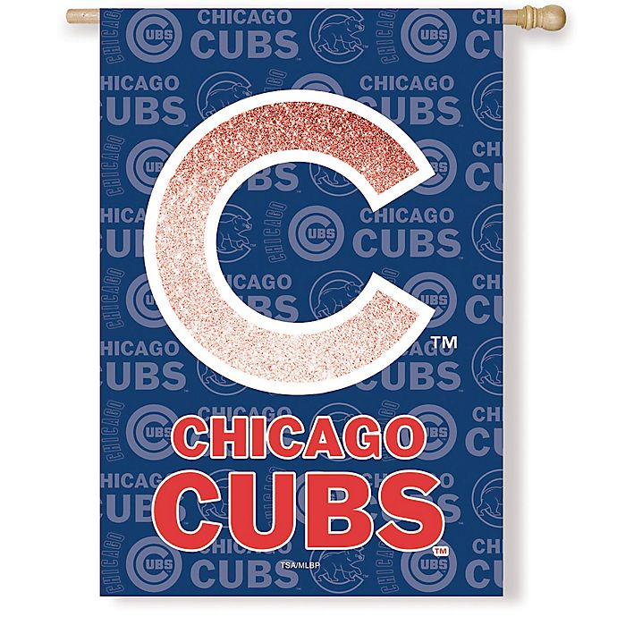 Alternate image 1 for MLB Chicago Cubs Double-Sided Vertical Glitter Flag