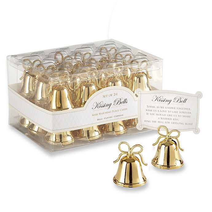 Alternate image 1 for Kate Aspen® Gold Kissing Bells Place Card/Photo Holder (Set of 24)