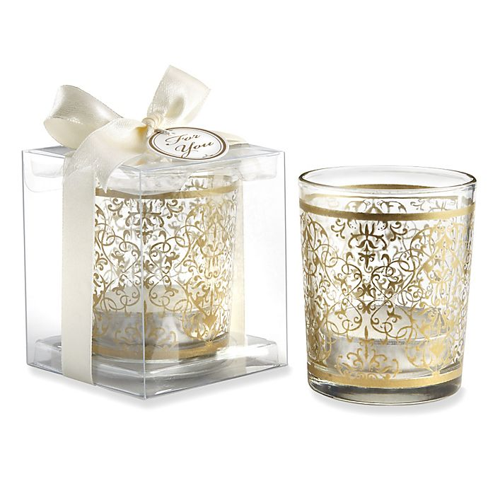 Alternate image 1 for Kate Aspen® Golden Renaissance Glass Tealight Holders (Set of 4)