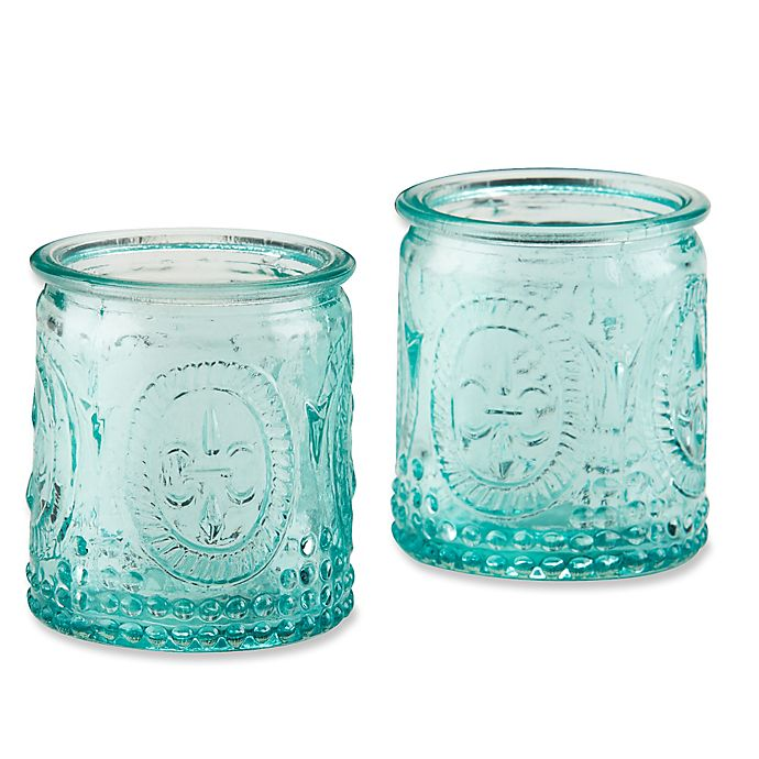 Alternate image 1 for Kate Aspen® Vintage Blue Glass Tealight Holder (Set of 4)
