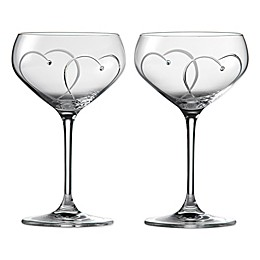 "Royal Doulton Promises ""Two Hearts Entwined"" Champagne Saucers (Set of 2)"