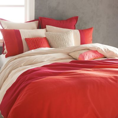 Dkny Colorblock Duvet Cover In Coral Bed Bath Amp Beyond