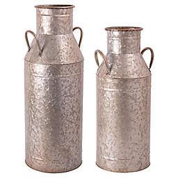 Home Essentials & Beyond Galvanized Flower Bucket in Silver