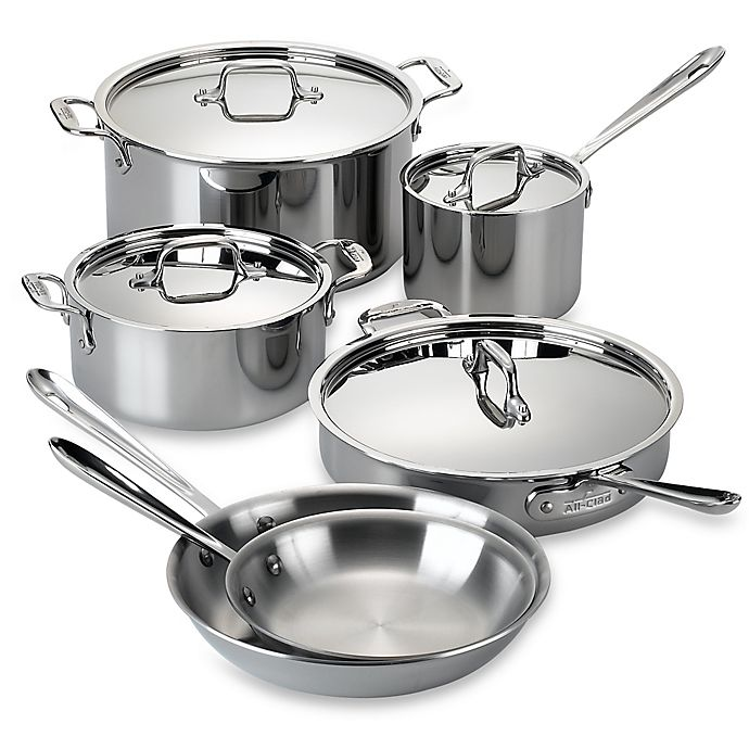 Alternate image 1 for All-Clad D3 Stainless Steel 10-Piece Cookware Set