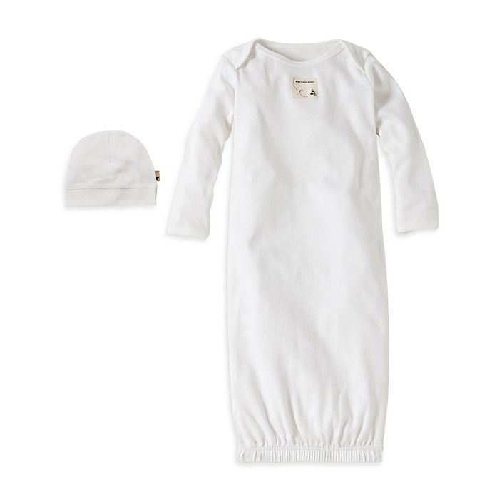 Alternate image 1 for Burt's Bees Baby® Size 0-9M Organic Cotton Gown and Cap Set in White