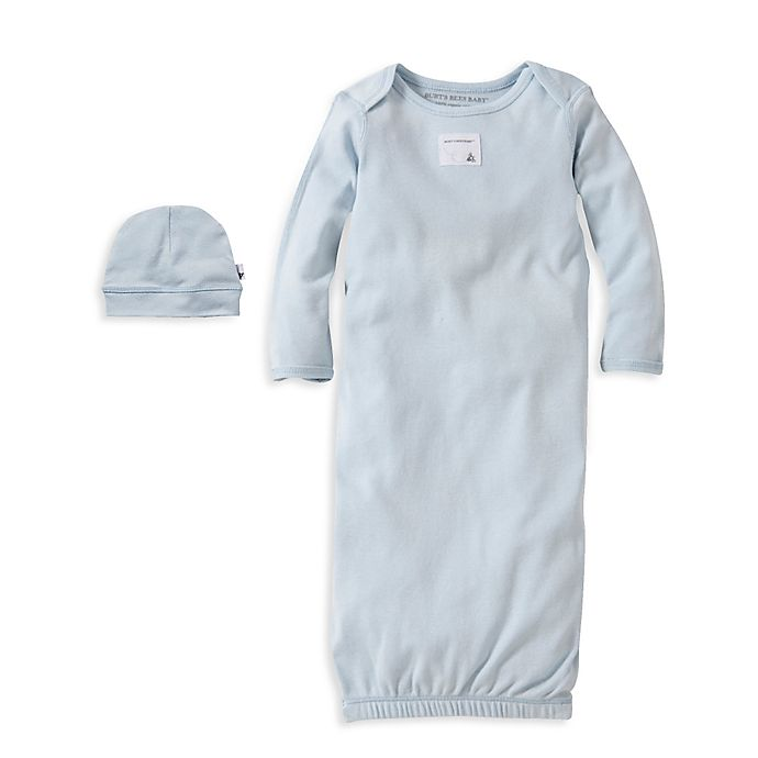 0f75721c8 Burt s Bees Baby® Size 0-3M Organic Cotton Gown and Cap Set in Blue ...