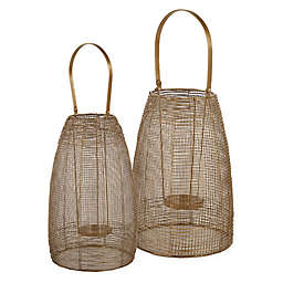 Ridge Road Décor Mesh Metal Lantern Candle Holder in Gold