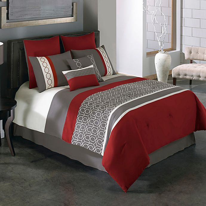 Covington 8 Piece Comforter Set In Red Grey Bed Bath