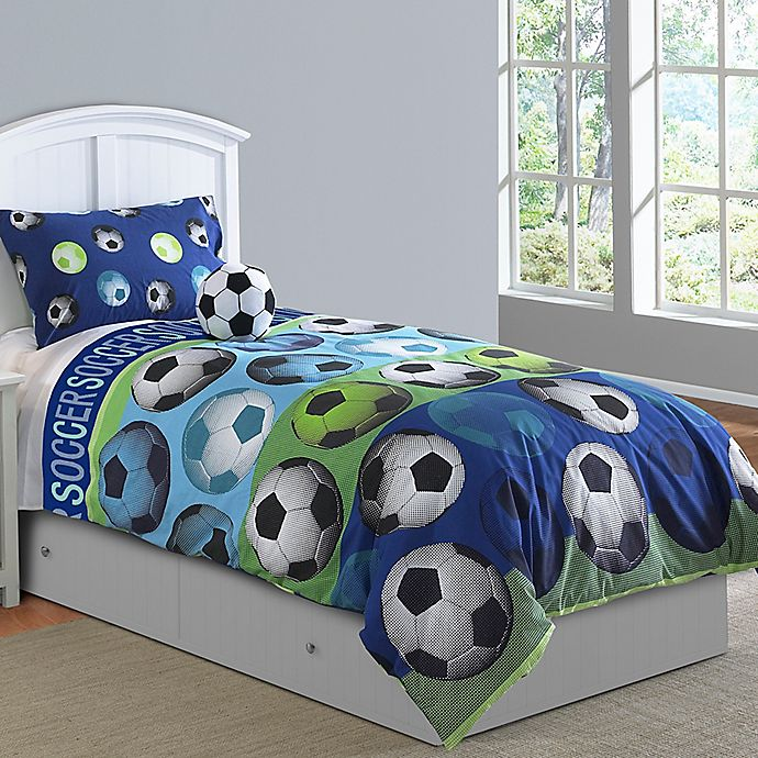 Alternate image 1 for Soccer League 3-Piece Twin Comforter Set in Blue