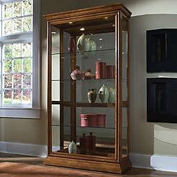 Pulaski Two-Way Sliding Door Curio in Golden Oak