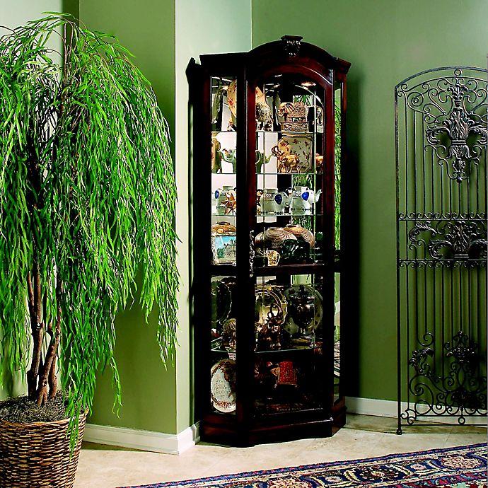 Inspiring Second Hand Cabinets 4 Dark Cherry Kitchen: Pulaski Corner Curio In Medallion Cherry