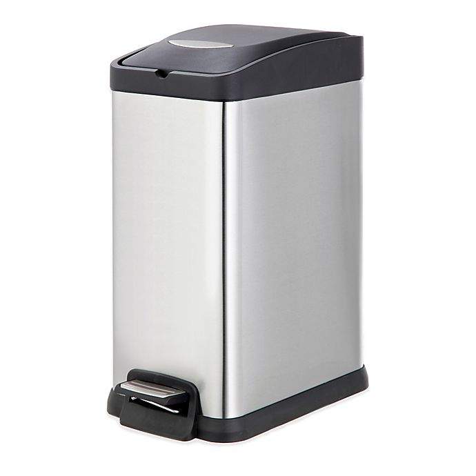 Alternate image 1 for SALT™ Stainless Steel Rectangular 15-Liter Pedal Trash Bin