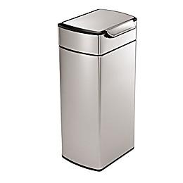 simplehuman® Brushed Stainless Steel Fingerprint-Proof Rectangular 30-Liter Touch Bar Trash Can