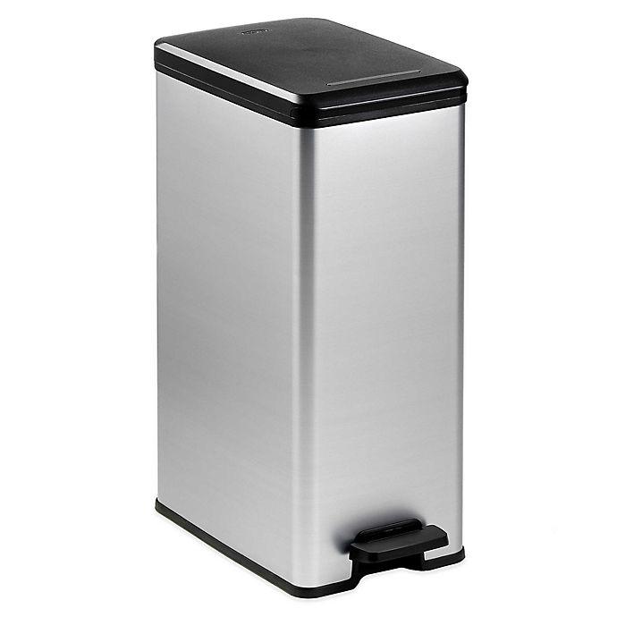 Alternate image 1 for Curver 40-Liter Slim Metallic Trash Can