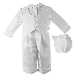Boy's White Satin Christening Outfit with Hat and Tie by Lauren Madison