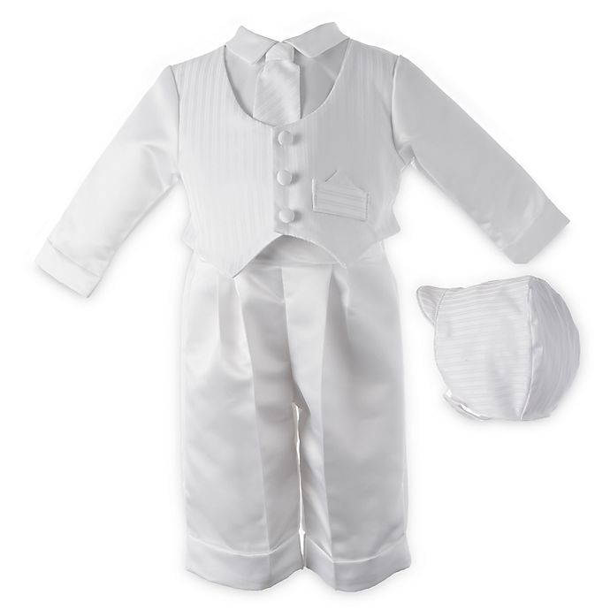 04818e7c2 Boy's White Satin Christening Outfit with Hat and Tie by Lauren Madison