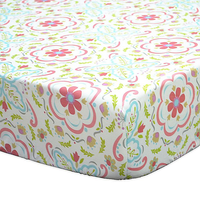 Alternate image 1 for The Peanutshell™ Gia Floral Damask Fitted Crib Sheet