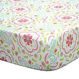 The Peanutshell™ Gia Floral Damask Fitted Crib Sheet