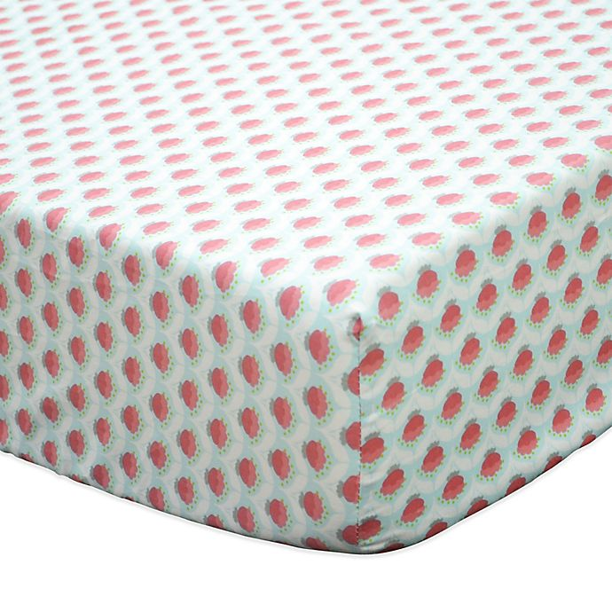Alternate image 1 for The Peanutshell™ Gia Geometric Floral Fitted Crib Sheet in Coral/Mint